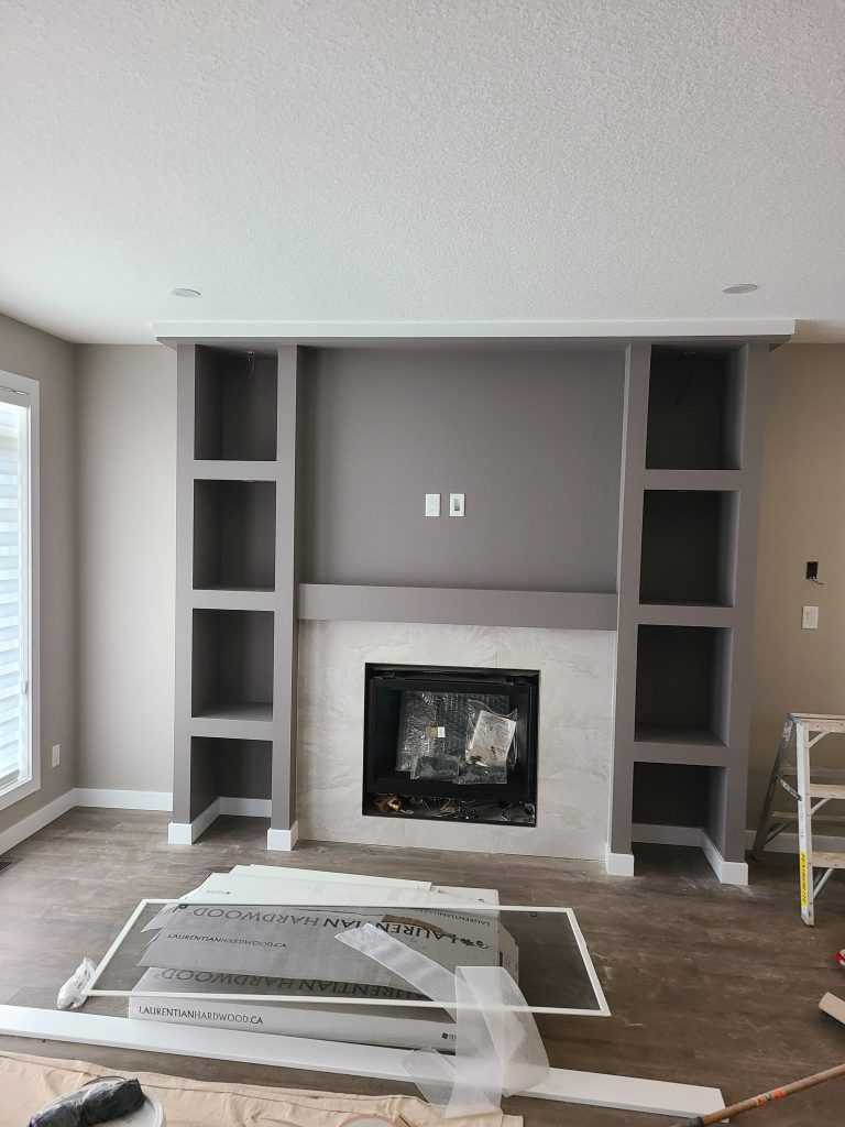 Painting chimney with grey color remodeling after