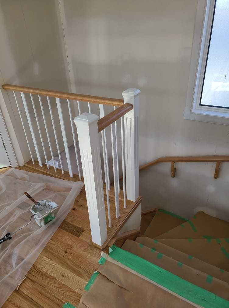 PAM PAINTING paint railings near stairs after